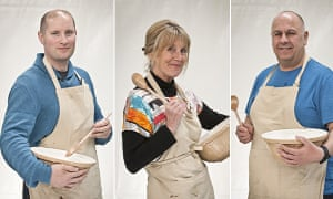 Eyes on the pies … Bake Off finalists Richard Burr, Nancy Birtwhistle and Luis Troyano.