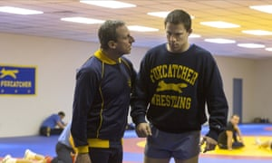 Steve Carell, left, in Foxcatcher.