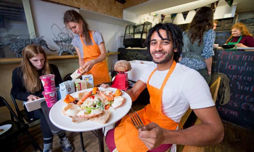 Skipchen chef Dylan Rakhra with the crab and prawn salad