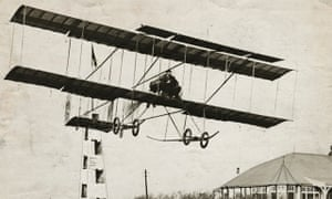 French aviator Henri Farman in his Farman biplane