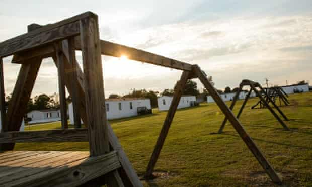 The swing set where Lennon Lacy was found hanging from in a trailer park in the rural town of Bladenboro, North Carolina.
