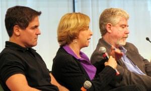 Vivian Schiller, shown with Mark Cuban and Bob Garfield, speaks at a 2009 summit