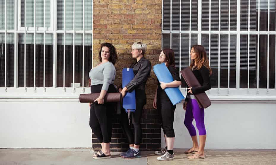 Deborah Coughlin queues for a yoga class with three thin women