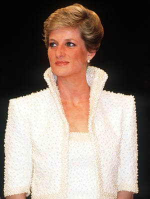 The Princess of Wales, wearing a beaded Catherine Walker gown and matching bolero