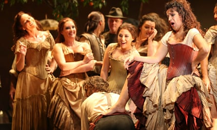 Actors smoking on stage during a dress rehearsal of Carmen at the Opera House in Sydney