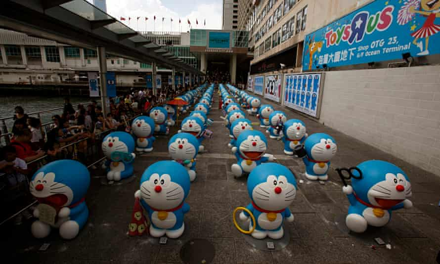 One hundred Doraemon figures during an exhibition in Hong Kong