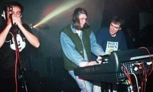 Karl Hyde (left), Rick Smith (right) and Underworld's third member Darren Emerson performing in 1993.