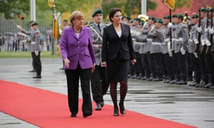 German chancellor Angela Merkel and PM Ewa Kopacz receive military honors during the Polish PM official visit to Germany.