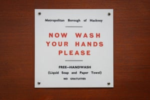 An original sign on the toilet door of the Convenience