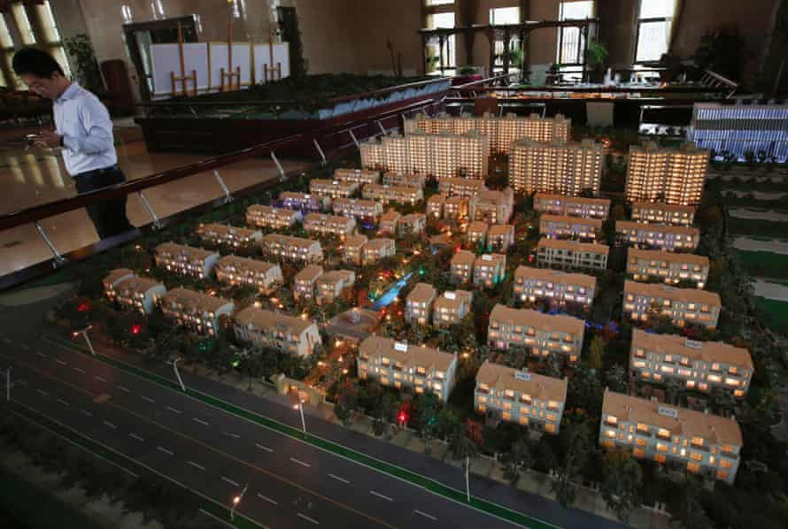 A model of new apartments on sale at a showroom in Beijing.
