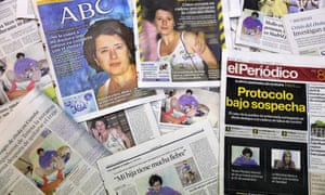 Spanish newspapers feature pictures of nurse Teresa Romero, who was diagnosed with Ebola.