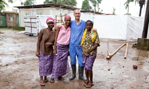Will Pooley in Sierra Leone with local people who have also recovered from Ebola.