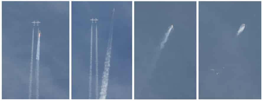 A combination of photographs shows Virgin Galactic's SpaceShipTwo detaching from the plane that carried it aloft, firing its engine and then blowing apart in the skies over the Mojave Desert in California.