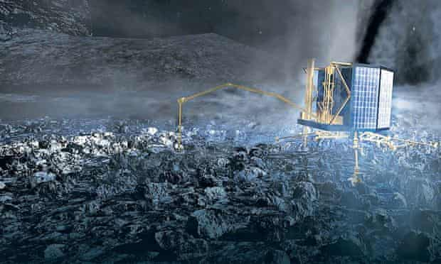 An artist's impression of the Philae lander touching down on the comet.