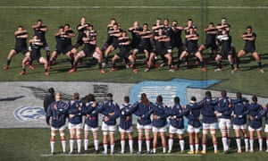New Zealand perform their pre-match haka before dismantling the USA at Soldier Field.
