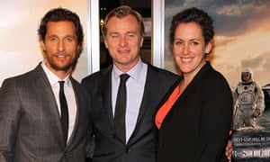 Matthew McConaughey, Christopher Nolan and producer Emma Thomas attend the Interstellar premiere in Washington DC.