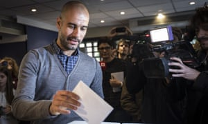 Pep Guardiola, coach of Bayern Munchen and former FC Barcelona coach, voting at a symbolic self determination referendum for Catalonia.