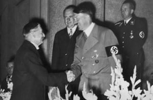 German dictator Adolf Hitler shakes hands with British Prime Minister Neville Chamberlain at Hotel Dressen in Godesberg, 22nd September 1938. The two met to discuss the German occupation of Sudetenland.