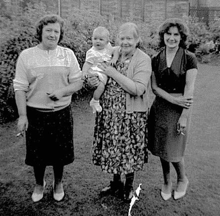 Mary with her family holding Stephen Jarvis as a baby