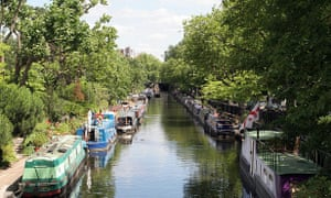 Barges on the Grand Union Canal in Little Venice, London.