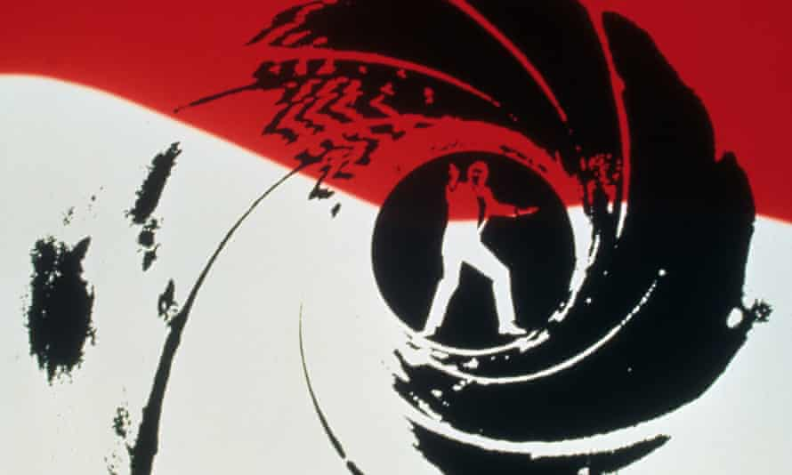Film still of opening credits of View To  A Kill from 1985, starring Roger Moore as James Bond.