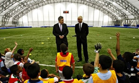 Gordon Brown visits David Beckham's academy
