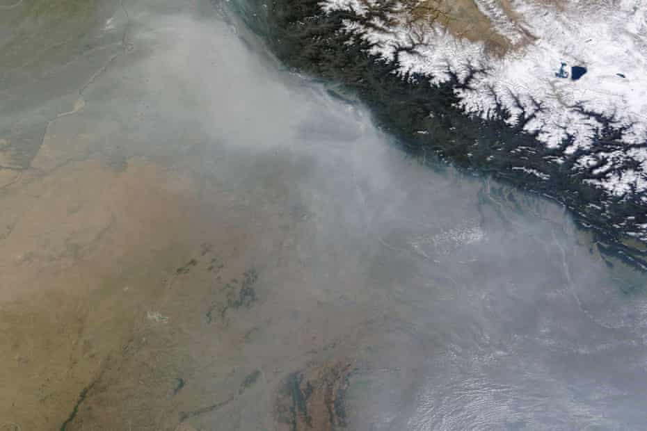 Haze hovering over northern India