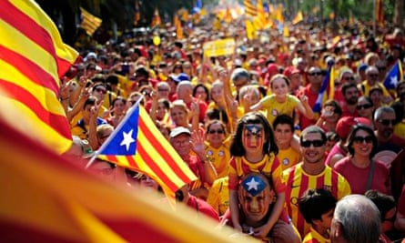 Catalan separatist parade, Barcelona, 11 September 2014
