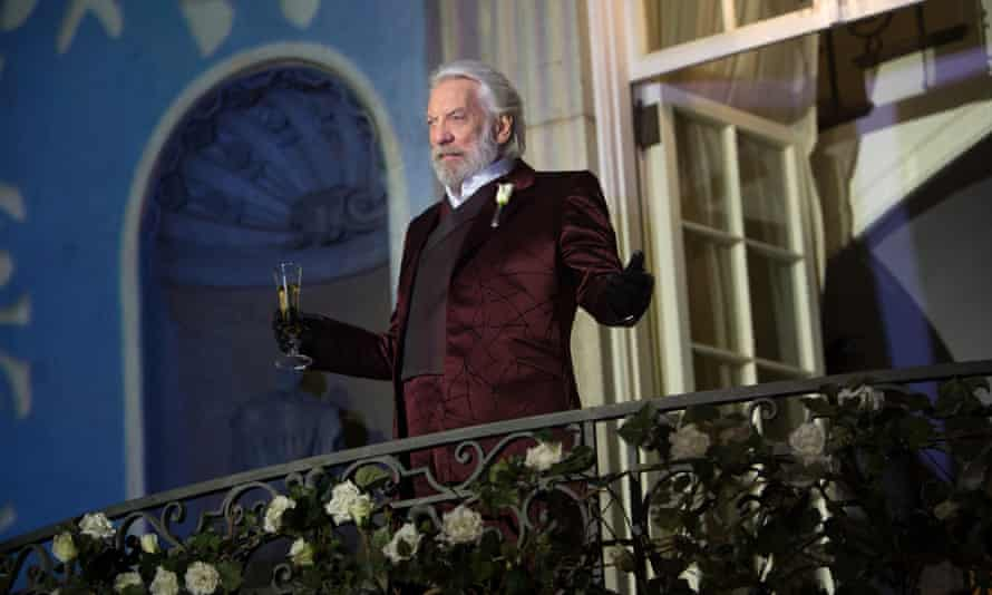 Donald Sutherland as the fascist leader President Snow during The Hunger Games film franchise.