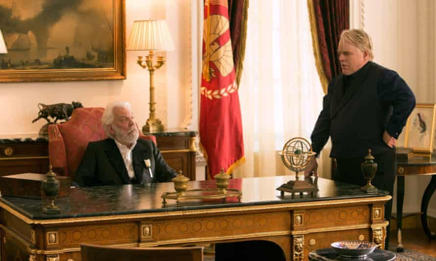 Donald Sutherland and the late Philip Seymour Hoffman acting in The Hunger Games film franchise.