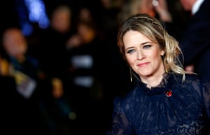 Edith Bowman wears steely blue as she works the red carpet outside the Odeon in London.