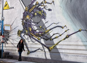 The Athens graffiti is illustrative of many styles, with new images on show around every street corner