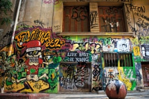 Live fast, die young. This graffiti artist shares their own philosophy of sorts in this mural work