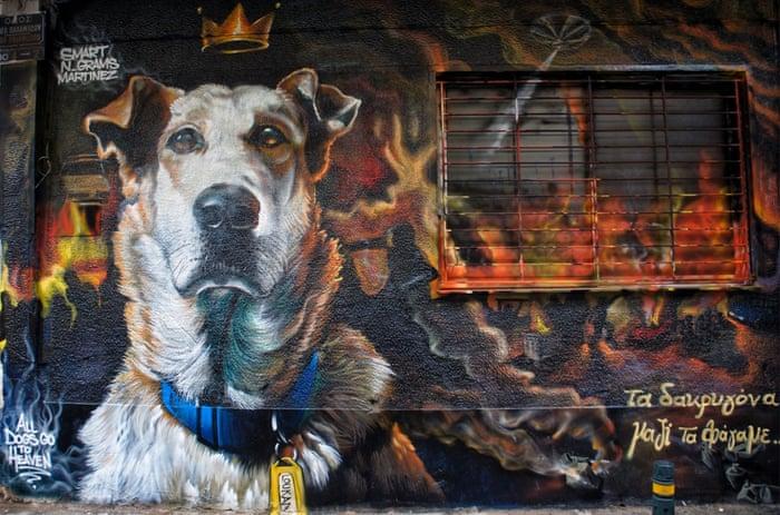 this Greek graffiti artist pays homage to man's best friend