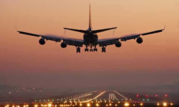 A plane lands at Gatwick airport