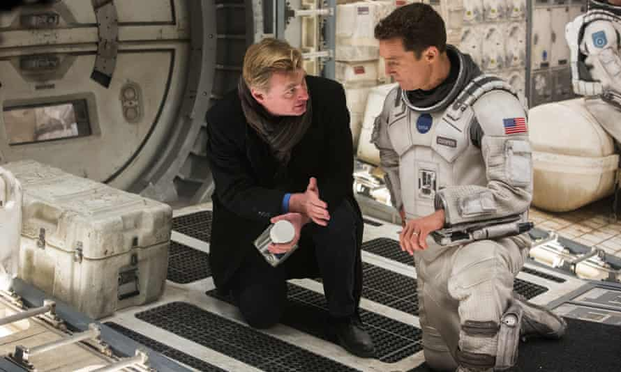 Christopher Nolan with Matthew McConaughey on the set of Interstellar