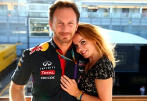 Red Bull Racing Team boss Christian Horner and Geri Halliwell after the Italian Grand Prix in Monza