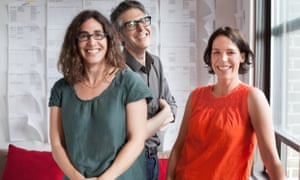 Sarah Koenig and Julie Snyder, executive producers of Serial, with Ira Glass, producer of This American Life.