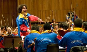 Gustavo Dudamel conducting Simon Bolivar Youth Orchestra of Venezuela at the Royal Festival Hall, London.