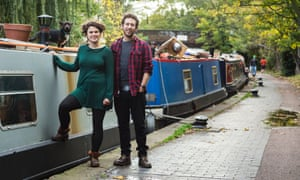 Emily Morus-Jones and her boyfriend stand by their boat near Camden Lock in north London.