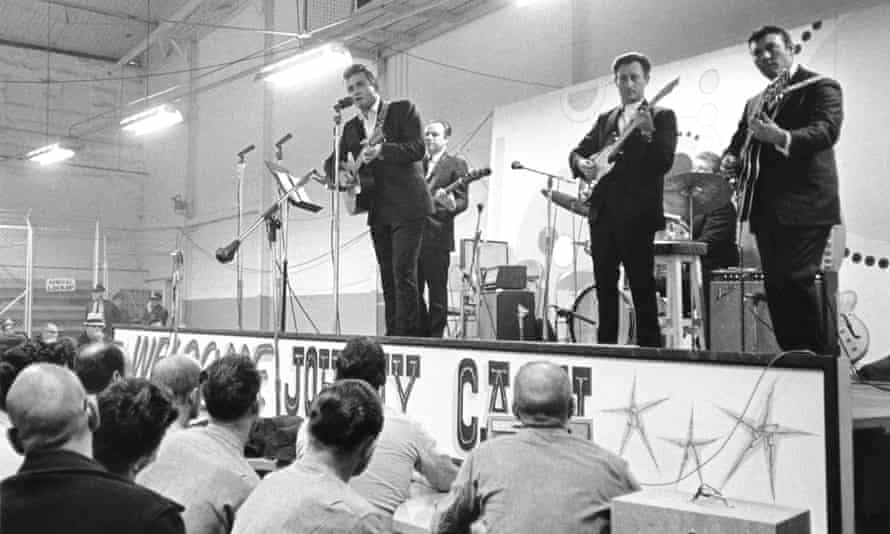 Johnny Cash at Folsom maximum security prison in California, 1968.