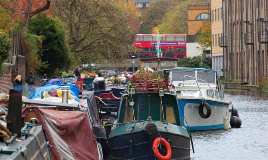 Canal boats on the Regent's canal in London.