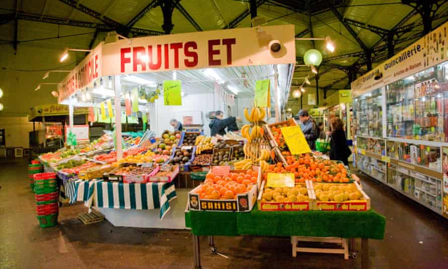 Produce on display in St Quentin produce market Paris
