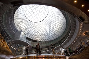 Commuters at the newly opened Fulton center Transit Hub, New York