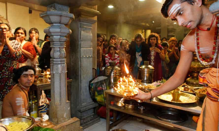 Celebration in the Paris Ganesh temple.