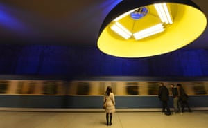 A train arrives at the Westfriedhof subway station Westfriedhof in Munich, Germany