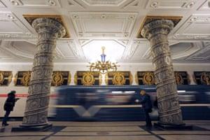Th grandeur of the Avtovo metro station in Saint-Petersburg, Russia