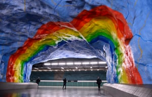Stadion metro station in Stockholm, Sweden which was decorated by the artists Enno Hallek and Ake Pallarp in 1973