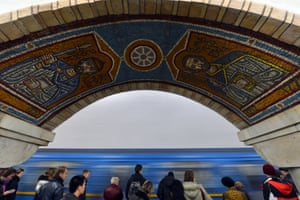 A corridor in the Golden gate metro station in Kiev, Ukraine.