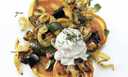 Yotam Ottolenghi's chickpea pancakes with spiced aubergine and courgette